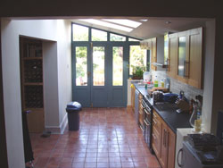 extension interior showing kitchen looking out towards garden