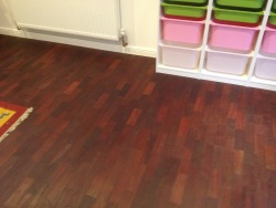 Relaid mahogany block floor